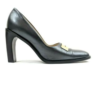 GUCCI Square Toe Stacked Chunky Heel Pumps 38.5 C